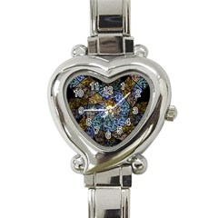 Multi Color Tile Twirl Octagon Heart Italian Charm Watch by Nexatart