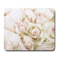 Pastel Roses Antique Vintage Large Mousepads by Nexatart