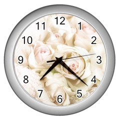 Pastel Roses Antique Vintage Wall Clocks (silver)  by Nexatart