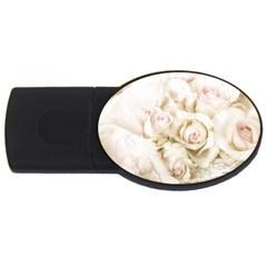 Pastel Roses Antique Vintage Usb Flash Drive Oval (4 Gb)