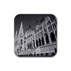 Architecture Parliament Landmark Rubber Square Coaster (4 Pack)  by Nexatart
