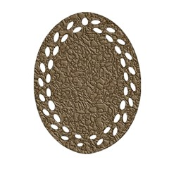 Leather Texture Brown Background Oval Filigree Ornament (two Sides) by Nexatart