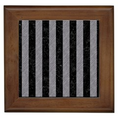 Stripes1 Black Marble & Gray Colored Pencil Framed Tiles by trendistuff