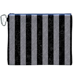Stripes1 Black Marble & Gray Colored Pencil Canvas Cosmetic Bag (xxxl) by trendistuff