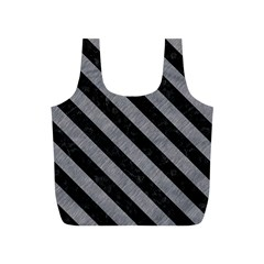 Stripes3 Black Marble & Gray Colored Pencil (r) Full Print Recycle Bags (s)  by trendistuff