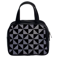 Triangle1 Black Marble & Gray Colored Pencil Classic Handbags (2 Sides) by trendistuff