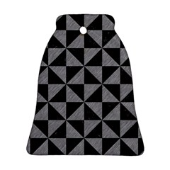Triangle1 Black Marble & Gray Colored Pencil Bell Ornament (two Sides) by trendistuff