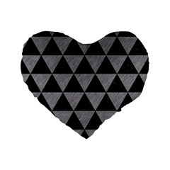 Triangle3 Black Marble & Gray Colored Pencil Standard 16  Premium Flano Heart Shape Cushions by trendistuff