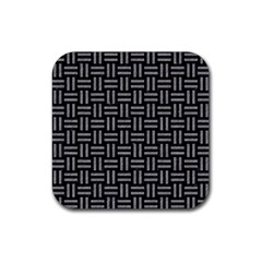 Woven1 Black Marble & Gray Colored Pencil Rubber Square Coaster (4 Pack)  by trendistuff