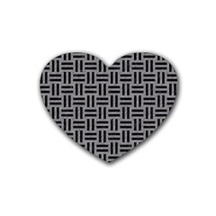 Woven1 Black Marble & Gray Colored Pencil (r) Heart Coaster (4 Pack)  by trendistuff