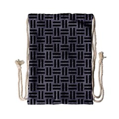 Woven1 Black Marble & Gray Colored Pencil (r) Drawstring Bag (small) by trendistuff