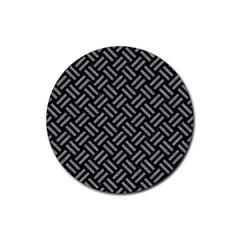 Woven2 Black Marble & Gray Colored Pencil Rubber Coaster (round)  by trendistuff
