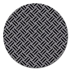 Woven2 Black Marble & Gray Colored Pencil (r) Magnet 5  (round) by trendistuff