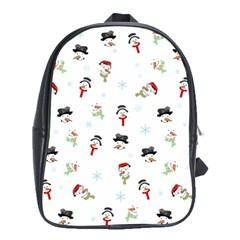 Snowman Pattern School Bag (xl) by Valentinaart