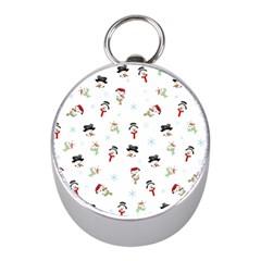 Snowman Pattern Mini Silver Compasses by Valentinaart