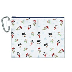 Snowman Pattern Canvas Cosmetic Bag (xl) by Valentinaart