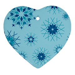 Blue Winter Snowflakes Star Ornament (heart) by Mariart