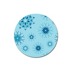 Blue Winter Snowflakes Star Magnet 3  (round) by Mariart