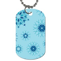 Blue Winter Snowflakes Star Dog Tag (two Sides) by Mariart