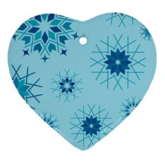 Blue Winter Snowflakes Star Heart Ornament (two Sides) by Mariart