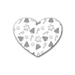 Ginger Cookies Christmas Pattern Heart Coaster (4 Pack)  by Valentinaart