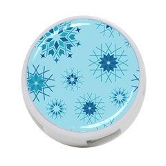 Blue Winter Snowflakes Star 4 Port Usb Hub (two Sides)  by Mariart
