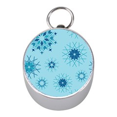 Blue Winter Snowflakes Star Mini Silver Compasses by Mariart