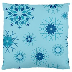 Blue Winter Snowflakes Star Large Flano Cushion Case (one Side) by Mariart