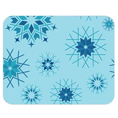 Blue Winter Snowflakes Star Double Sided Flano Blanket (medium)  by Mariart