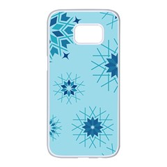 Blue Winter Snowflakes Star Samsung Galaxy S7 Edge White Seamless Case by Mariart