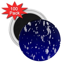 Blue Sky Christmas Snowflake 2 25  Magnets (100 Pack)