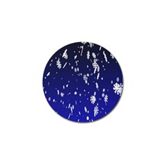 Blue Sky Christmas Snowflake Golf Ball Marker by Mariart