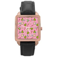Ginger Cookies Christmas Pattern Rose Gold Leather Watch  by Valentinaart