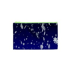 Blue Sky Christmas Snowflake Cosmetic Bag (xs) by Mariart
