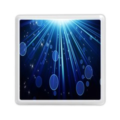 Blue Rays Light Stars Space Memory Card Reader (square)  by Mariart