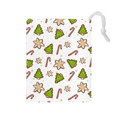 Ginger Cookies Christmas Pattern Drawstring Pouches (large)  by Valentinaart