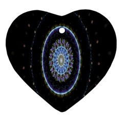Colorful Hypnotic Circular Rings Space Heart Ornament (two Sides) by Mariart