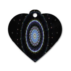 Colorful Hypnotic Circular Rings Space Dog Tag Heart (one Side) by Mariart