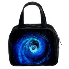 Blue Black Hole Galaxy Classic Handbags (2 Sides) by Mariart