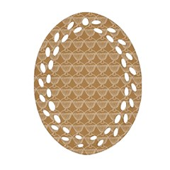 Cake Brown Sweet Ornament (oval Filigree) by Mariart