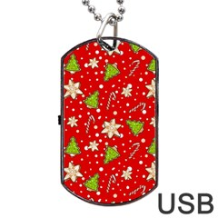 Ginger Cookies Christmas Pattern Dog Tag Usb Flash (one Side) by Valentinaart