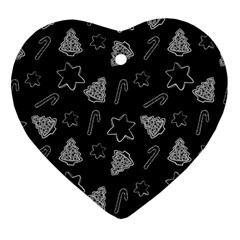 Ginger Cookies Christmas Pattern Ornament (heart) by Valentinaart