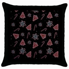 Ginger Cookies Christmas Pattern Throw Pillow Case (black) by Valentinaart