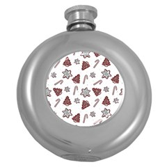 Ginger Cookies Christmas Pattern Round Hip Flask (5 Oz) by Valentinaart