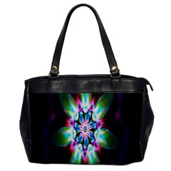 Colorful Fractal Flower Star Green Purple Office Handbags by Mariart