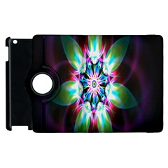Colorful Fractal Flower Star Green Purple Apple Ipad 3/4 Flip 360 Case by Mariart