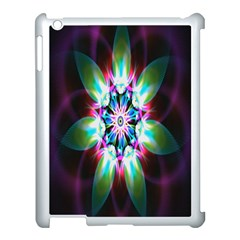 Colorful Fractal Flower Star Green Purple Apple Ipad 3/4 Case (white) by Mariart