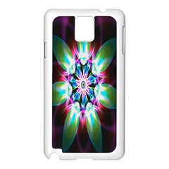 Colorful Fractal Flower Star Green Purple Samsung Galaxy Note 3 N9005 Case (white) by Mariart