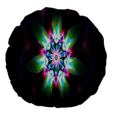 Colorful Fractal Flower Star Green Purple Large 18  Premium Flano Round Cushions by Mariart