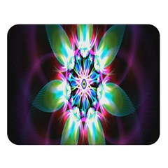 Colorful Fractal Flower Star Green Purple Double Sided Flano Blanket (large)  by Mariart